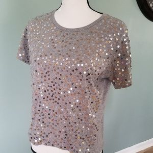 J Crew Grey T shirt with sequins- size Small